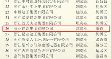 2020绍兴市百强企业名单发布,亚博竞彩官网建设集团荣列榜单第26位